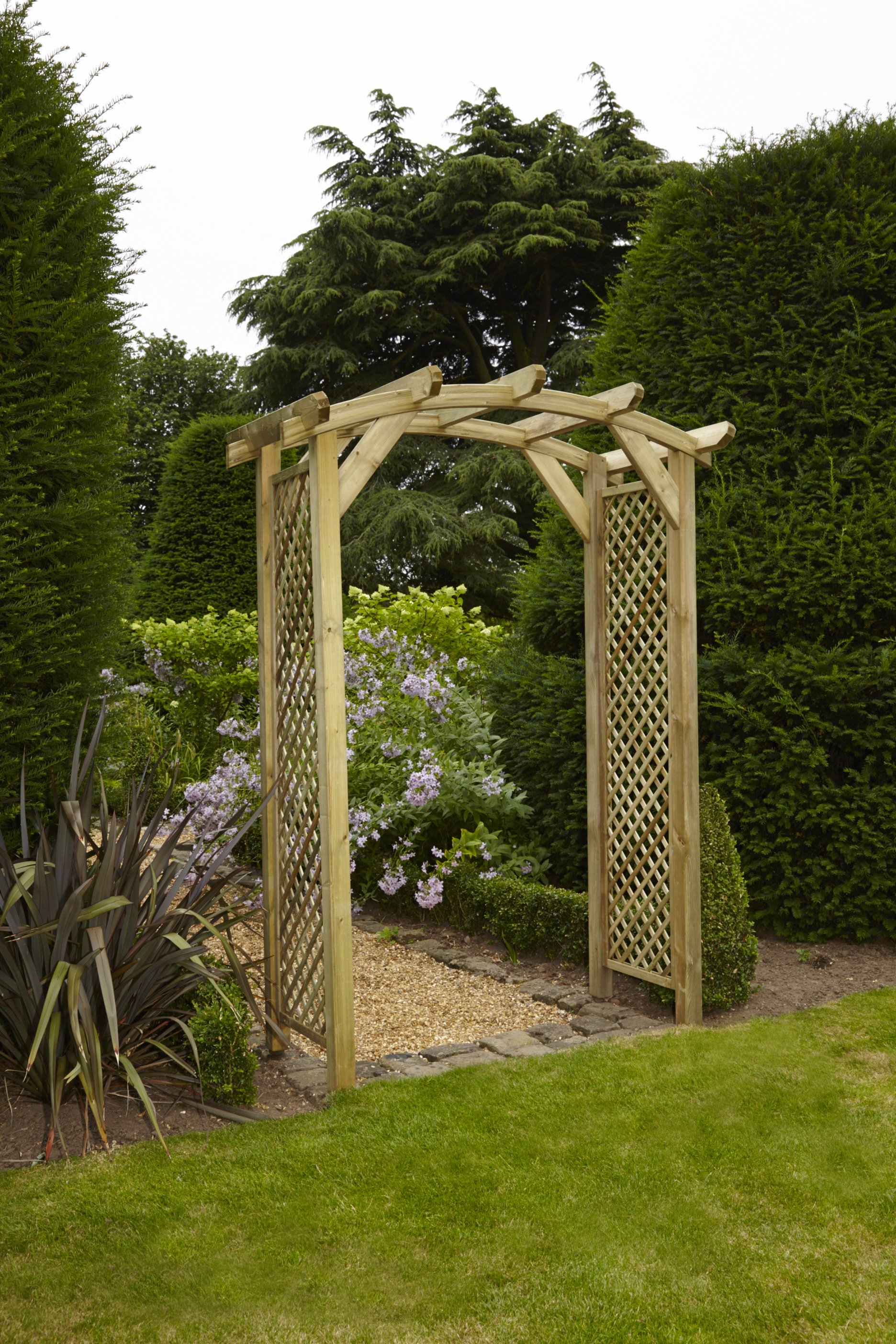 Anchor fast curved lattice arch simply wood - Garden wood arches ...
