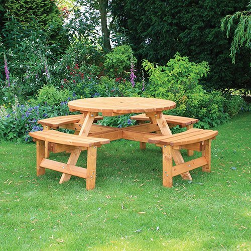 Anchor Fast Somerset Seater Round Picnic Bench Simply Wood - 8 seater round picnic table