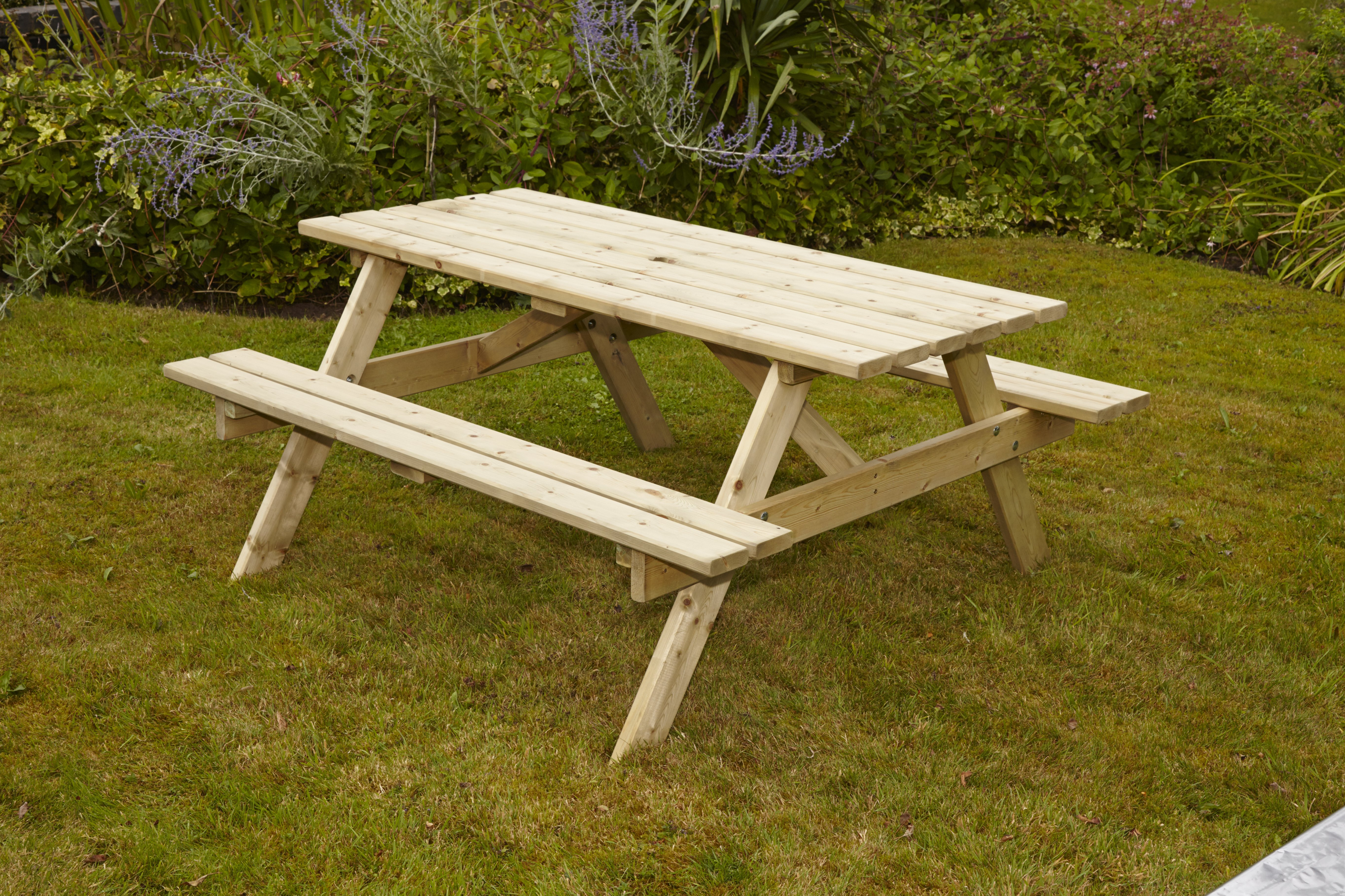 Anchor Fast Devon Picnic Bench M Pack Simply Wood - Picnic table anchors