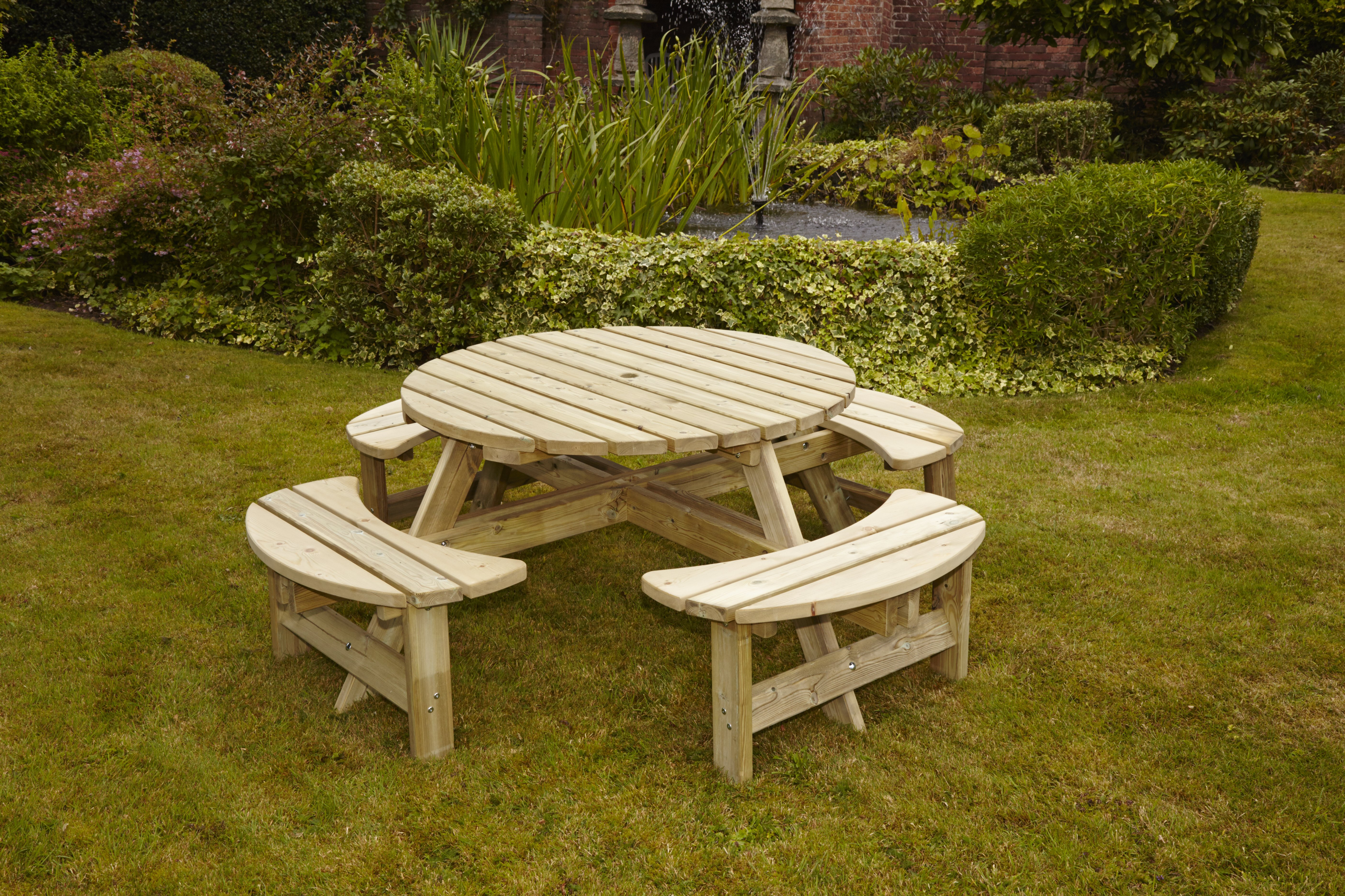 Anchor fast devon round picnic bench simply wood 49999 37499 watchthetrailerfo