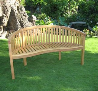 Solid Oak Garden Bench - Unique Curved Style