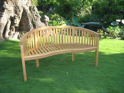 Solid Oak Garden Bench Unique Curved Style Simply Wood