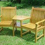 Solid Oak Garden Love Seat