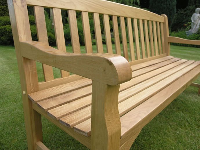 Solid Oak Garden Bench - 4 Seater (6Ft) - Simply Wood