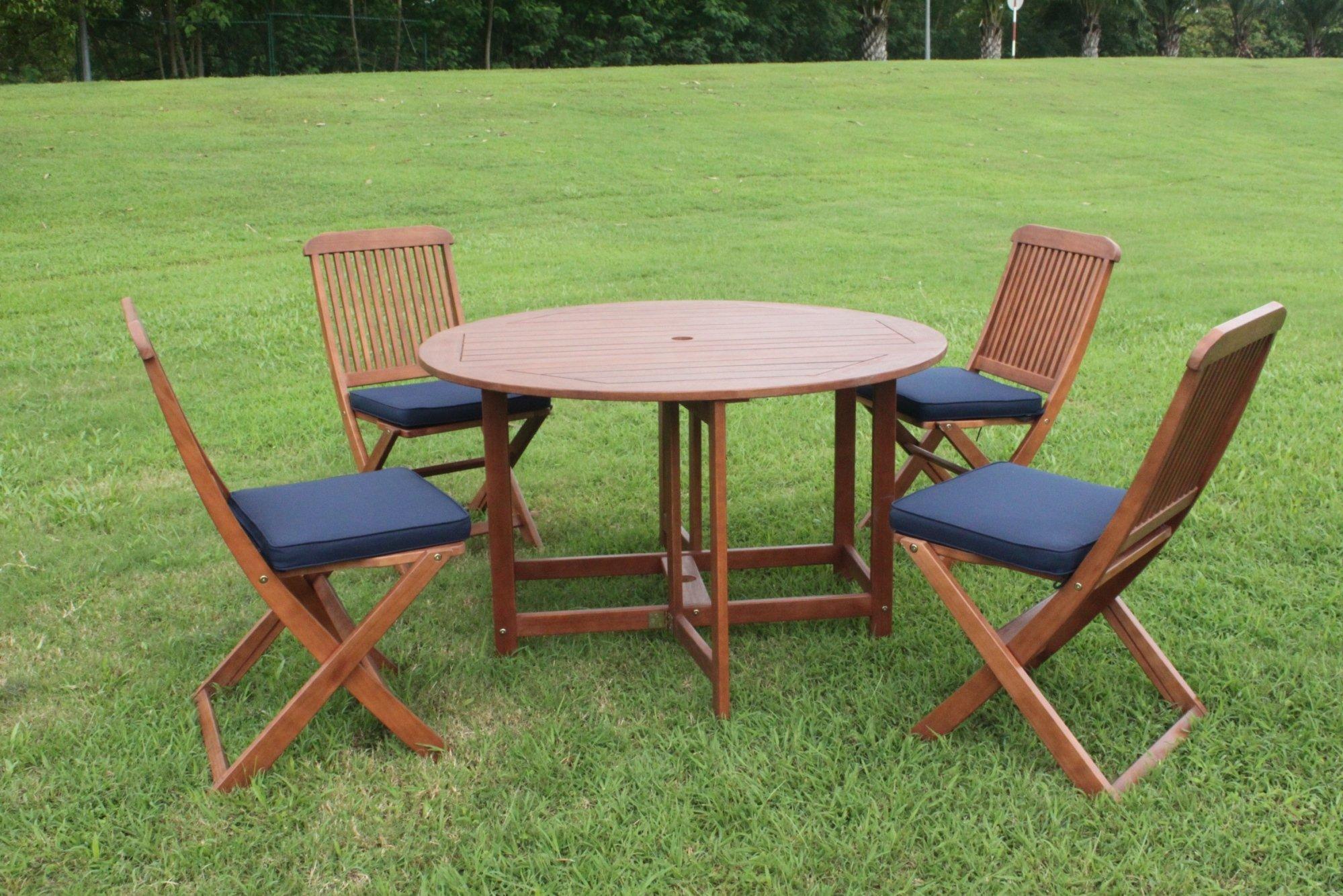 Folding Dining Table Set 4 Seater: Elegance 4 Seater Folding Round Patio Dining Set