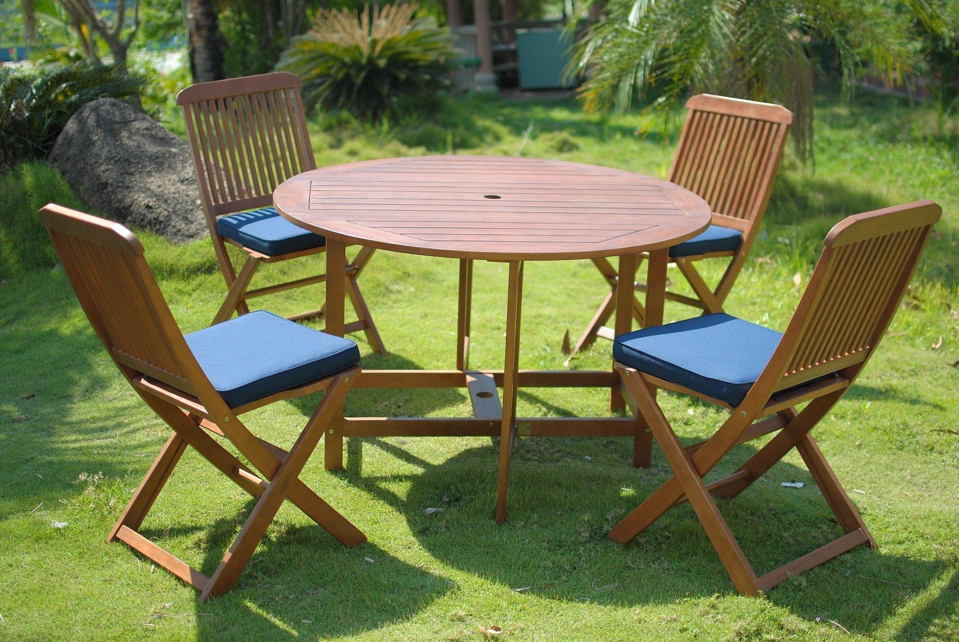 Elegance 4 Seater Folding Round Patio Dining Set Simply Wood