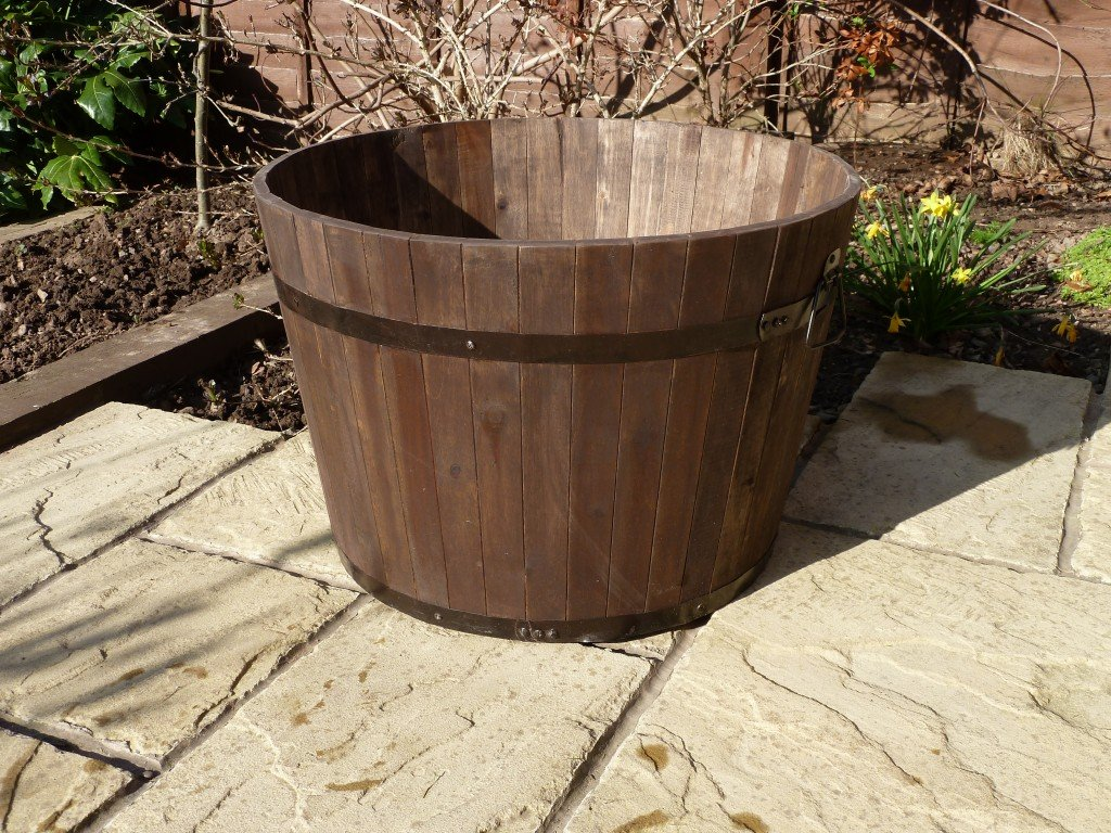 Premium Wine Barrel Planter Extra Large Simply Wood