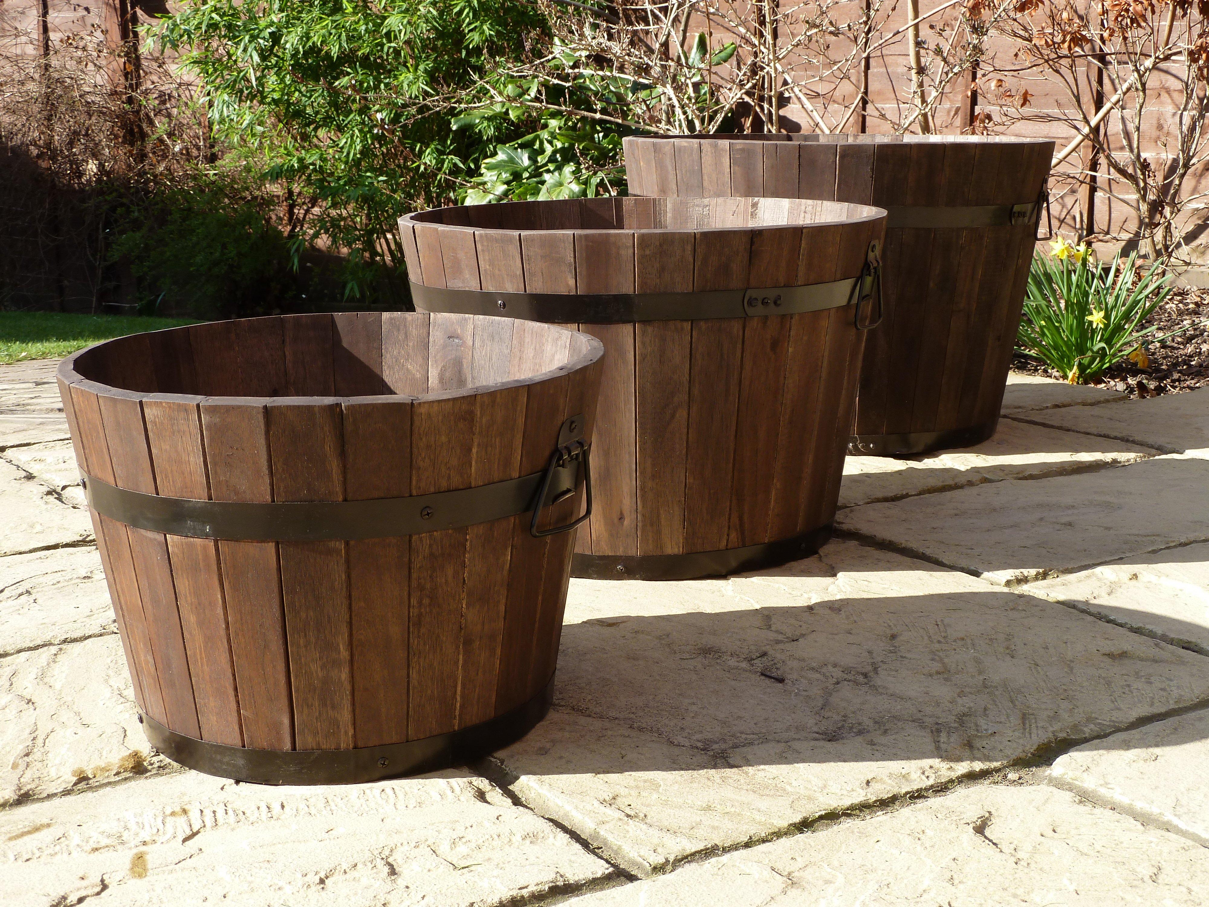 Premium Wine Barrel Planter Medium Simply Wood