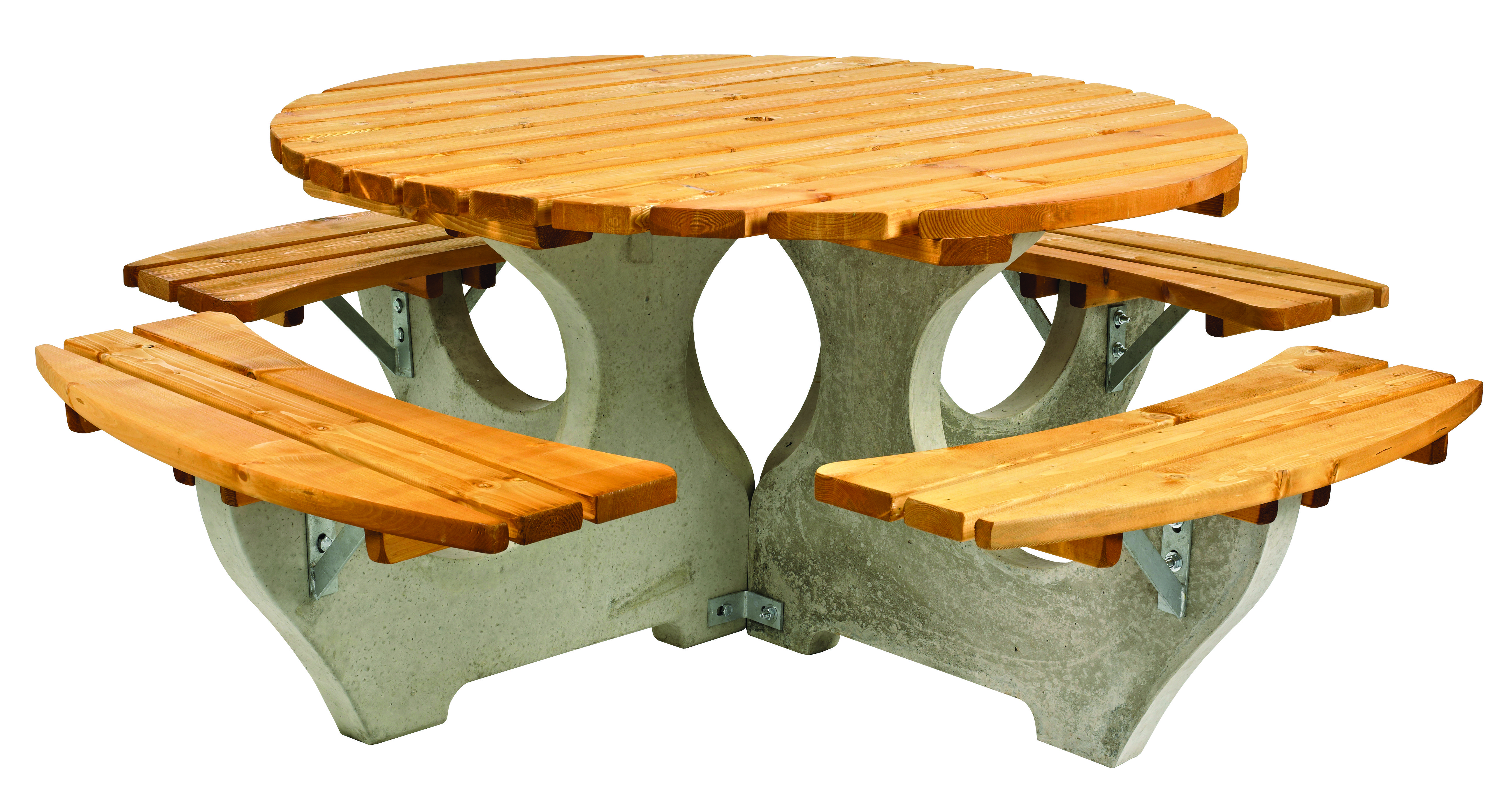 Concrete Round Picnic Table Simply Wood - Round picnic table with benches