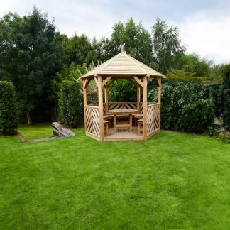 Anchor Fast Sandringham Gazebo with Table & 5 Benches - Open Side