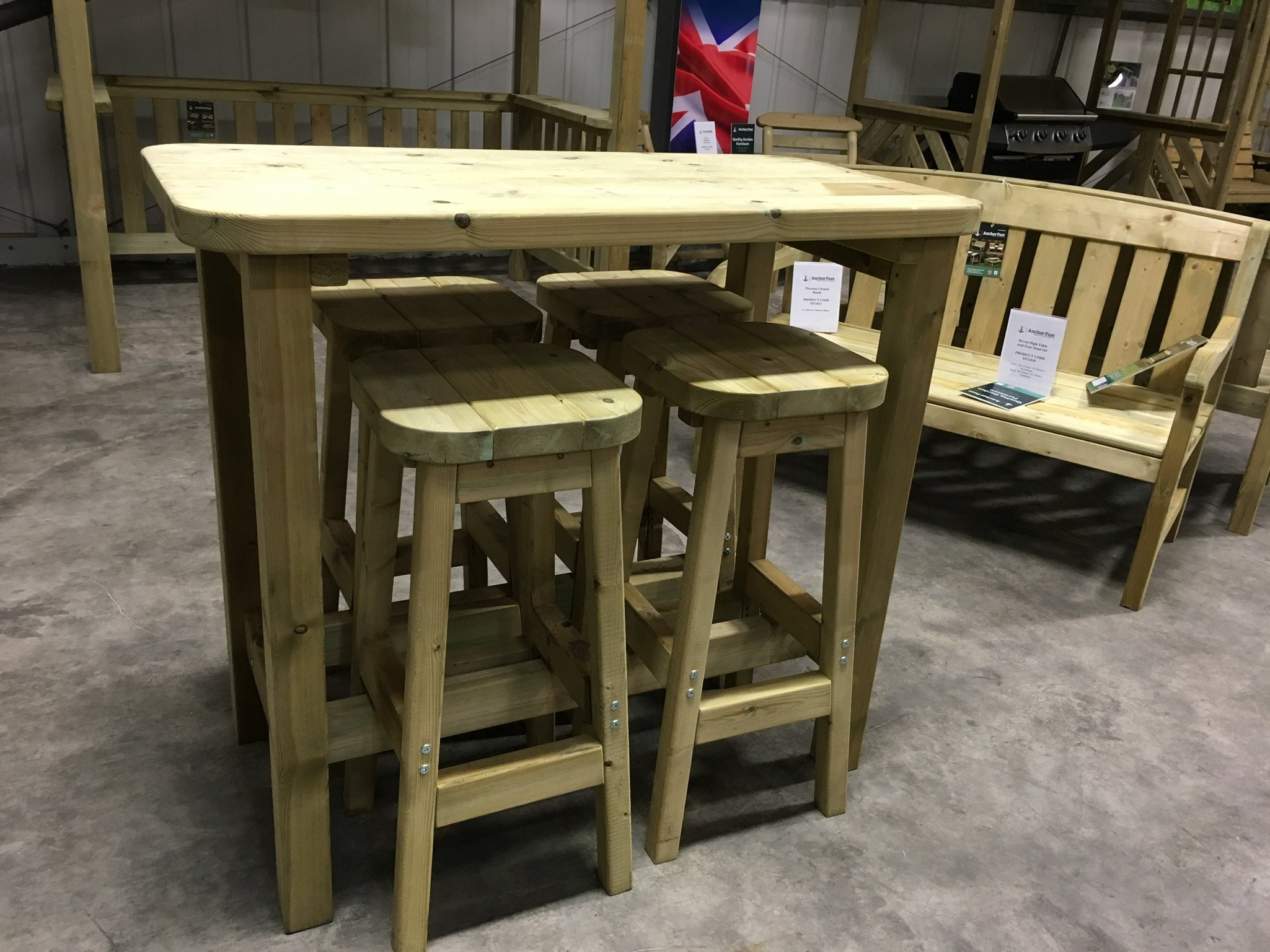 Anchor Fast Devon High Table Amp Stool Set Simply Wood