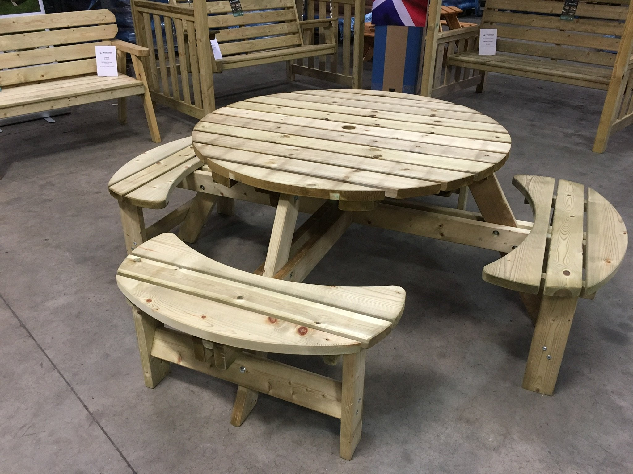 Anchor Fast Devon Round Picnic Bench Simply Wood