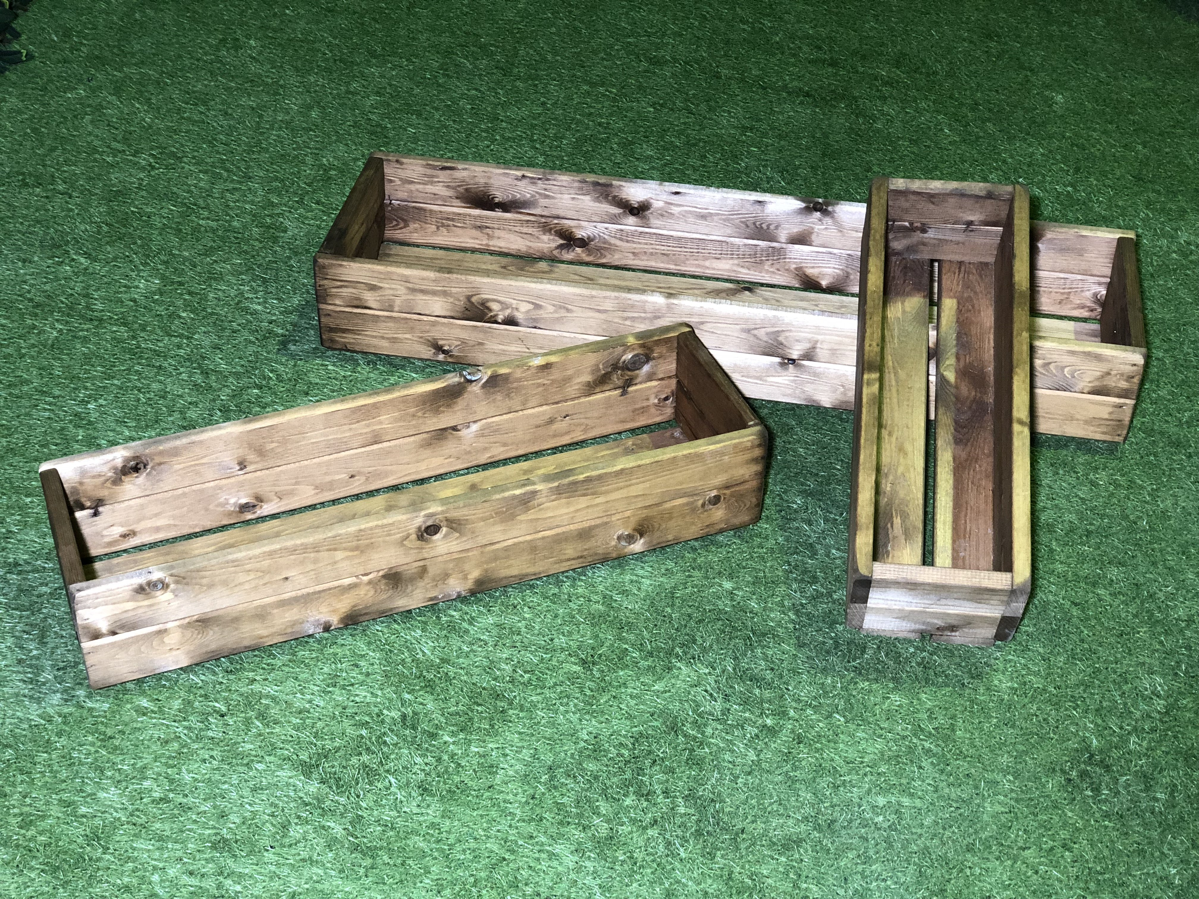 Set Of 3 Wooden Tables: High Quality Stained Wooden Planters