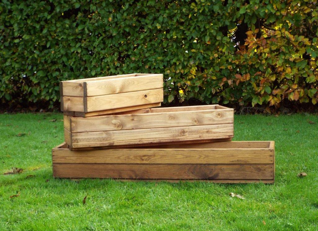 High Quality Stained Wooden Planters Set Of 3 Simply Wood