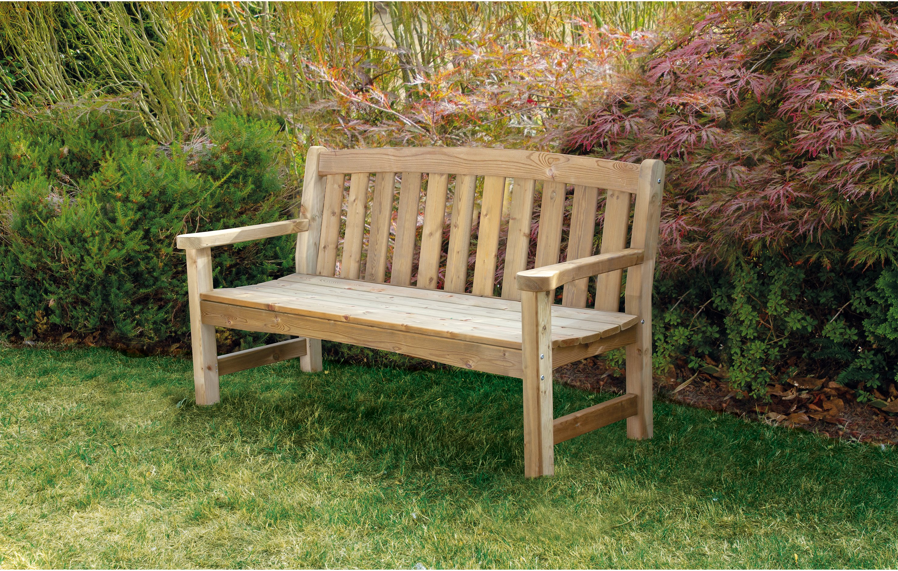 Woodshaw Emsworth 3 Seater Bench Simply Wood