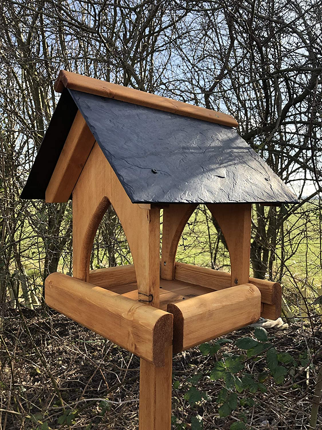 Simply Wood York Bird Table with Slate Effect Roof ...